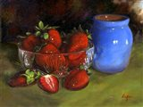 Strawberry Blue Vase Art Print
