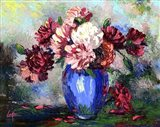 Flowers In A Blue Vase Art Print