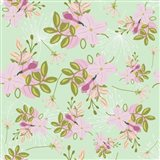Pink Mint Floral Pattern Art Print