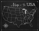 Chalkboard US Map Art Print