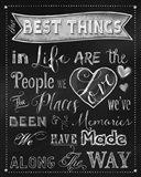Best Things Chalkboard Art Print