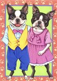 Boston Terrier Couple Art Print