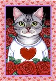 Cat Roses Art Print