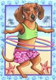 Dachshund Hula Hoop Art Print