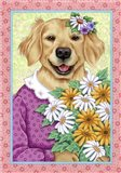 Golden Retriever Bouquet Art Print