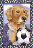 Golden Retriever Soccer Ball Art Print