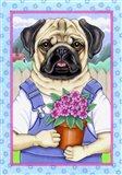 Pug Flower Pot Art Print