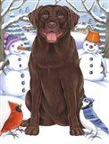 Winter Chocolate Lab Art Print