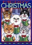 Xmas Cat Chorus Art Print