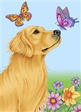 Butterfly And Dog Art Print