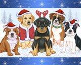Christmas Pups Art Print