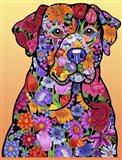 Flower Black Lab Art Print