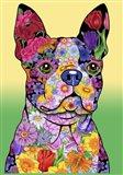 Flowers Boston Terrier Art Print