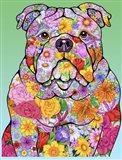 Flowers Bulldog Art Print
