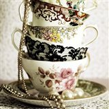 Antique Cups and Saucers with Pearls 1 Art Print