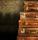 Antique Luggage Suitcases Art Print
