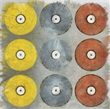 Coloured Records on Grey Texture Art Print