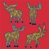 4 Moose Art Print