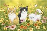 Kittens in the Garden Art Print