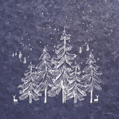 Blue Winter Art Print by Seven Trees Design