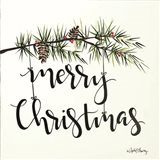 Merry Christmas Pinecone Swag Art Print