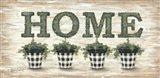 Gingham Topiaries Home Art Print