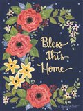 Floral Bless This Home Art Print