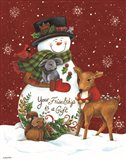 Snowman with Deer Art Print