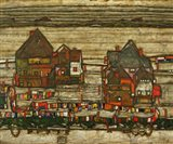 Houses With Colorful Laundry, 1914 Art Print