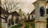 Bare Trees, Houses, and Shrine (Klosterneuburg, Austria) Art Print