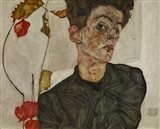 Self-Portrait With Chinese Lantern And Fruits, 1912 Art Print