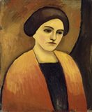 Head Of A Woman In Orange And Brown (Portrait Of The Artist'S Wife),  c.  1911 Art Print