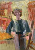 Study of a Woman with Houses, c. 1910-1916 Art Print