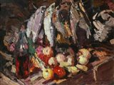 Still Life with Fish, Wine, and Fruit Art Print