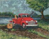 Red Truck Fishing Buddy Art Print