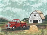 Red Truck at the Barn Art Print