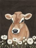 Cow With Flowers Art Print