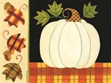 White Pumpkin, Leaves and Acorns Art Print