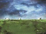Distant Hillside Sheep by Night Art Print
