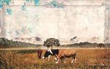 Vintage Grazing Cattle Art Print