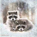 Enchanted Winter Raccoons Art Print