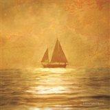 Solo Gold Sunset Sailboat Art Print