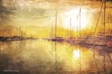 Yellow Sunset Boats in Marina Art Print