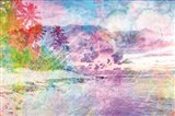 Rainbow Bright Beach Scene Art Print