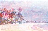 Rainbow Bright Sandy Beach Umbrellas Art Print