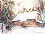 Snowy Christmas Cabin Art Print