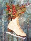 Winter Skate with Floral Spray Art Print