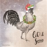 Vintage Christmas Be Merry Rooster Art Print