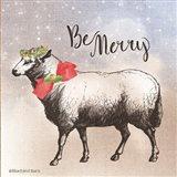 Vintage Christmas Be Merry Sheep Art Print