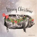 Vintage Christmas Be Merry Pig Art Print